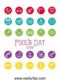 bundle of fools day set icons in red background
