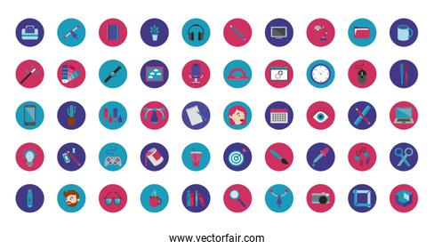 bundle of designer set block and flat icons