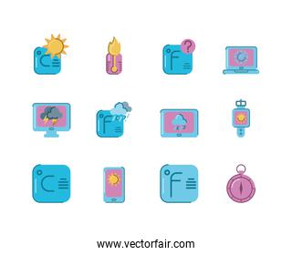 weather icon set, colorful and flat style design