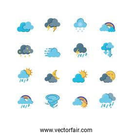 clouds and weather icons set over white background, colorful and flat style