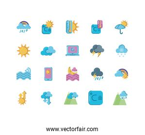 weather concept of icons set over white background, colorful and flat style