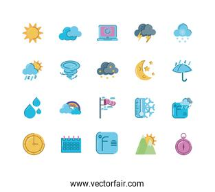 sun and weather concept of icons set, flat design