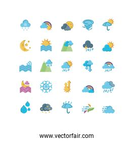 rainbows and weather icon set over white background, flat style icon