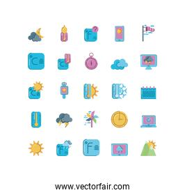 temperature and weather icons set over white background, colorful and flat style