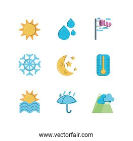 sun and weather concept of icons set over white background, colorful and flat style