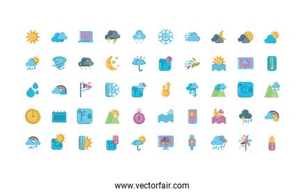 weather icons set over white background, colorful and flat style