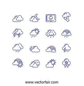 clouds and weather icons set over white background, line style