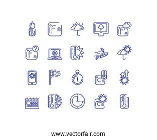 rainbows and weather icon set over white background, line style icon