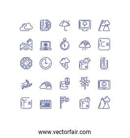 weather concept of icons set over white background, line style