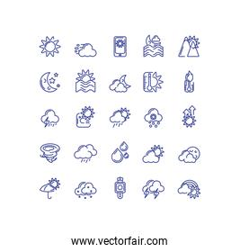 sun and weather concept of icons set over white background, line style