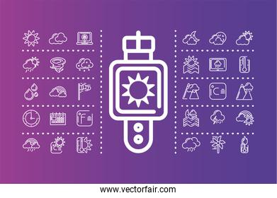 smartwatch with weather icons set over purple background, colorful design