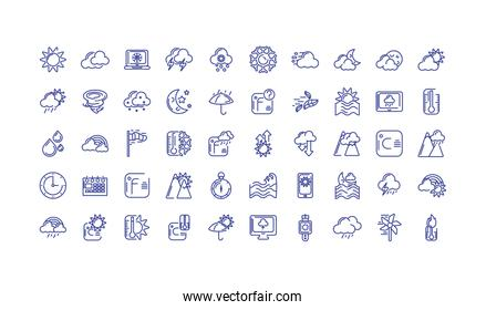 weather icons set over white background, line style