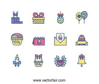 cute bunnies and happy easter concept of icons set, line style and colorful design