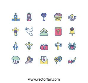 easter eggs and related icons set, line style and colorful design