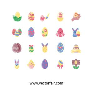colorful easter eggs icons set, flat style and colorful design