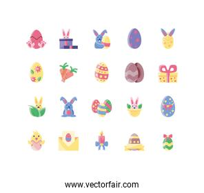 cute bunnies and happy easter concept of icons set, flat style and colorful design