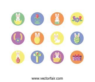easter egg and happy easter icons set, block style design