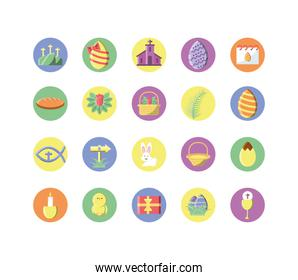 happy easters concept of icons set, block style design