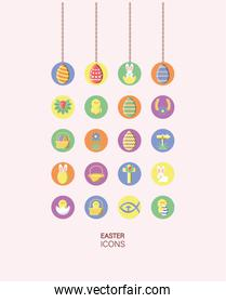 cute rabbits and happy easters icons set, block style design