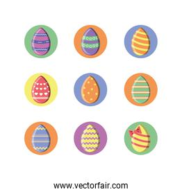 easter eggs icons set, block style design