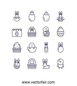easter egg and happy easter icons set, line style design