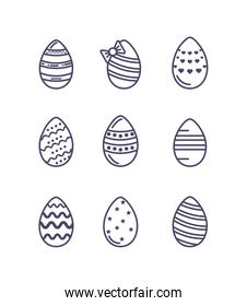 easter eggs icons set, line style design