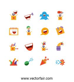 fools day icon set, colorful and flat style design