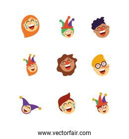 cartoon people laughing and fools day icons set, colorful and flat style design