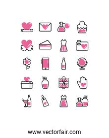 set of icons women day, line style and color
