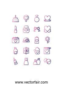 set of icons women day,gradient style icon