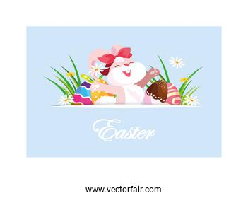 rabbit with easter label and eggs, greeting card