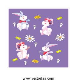 pattern cute with rabbit of easter
