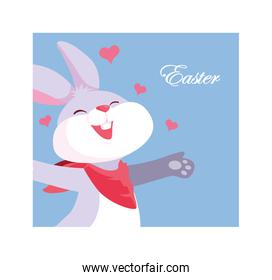 cute easter card with rabbit
