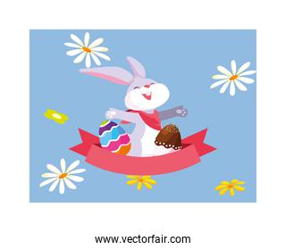 easter rabbit with eggs, greeting card