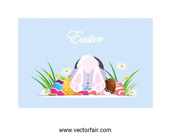 rabbit entering the burrow, card easter