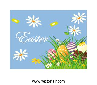 easter label with eggs, greeting card