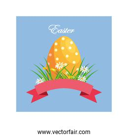 easter label with egg, greeting card