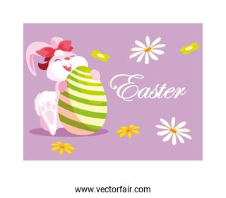 rabbit with easter label and egg, greeting card