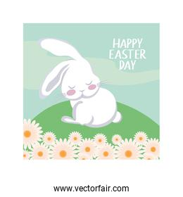 label happy easter day with cute rabbit