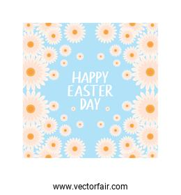 happy easter day label with spring flowers