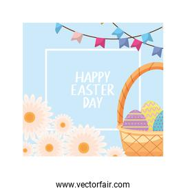 happy easter day label with wicker basket and colorful easter eggs