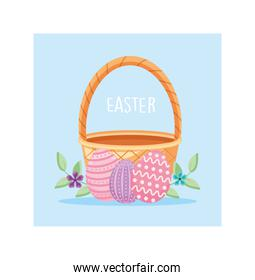 easter label with wicker basket and colorful easter eggs