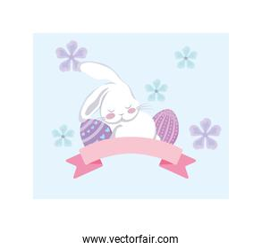 card greeting with rabbit and easter eggs