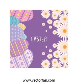 label easter with eggs, greeting card