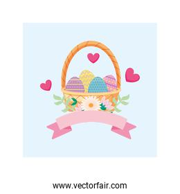 wicker basket and colorful easter eggs