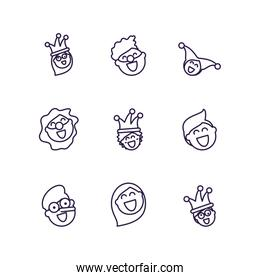 cartoon people laughing and fools day icons set, line style design