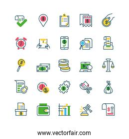 location pin and Tax day icons set, half color style
