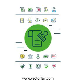 document and stamp and Tax day icons set, half color style