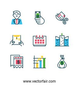 cartoon businessman and Tax day icons set, half color