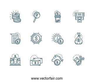 money and Tax day icons set, line style